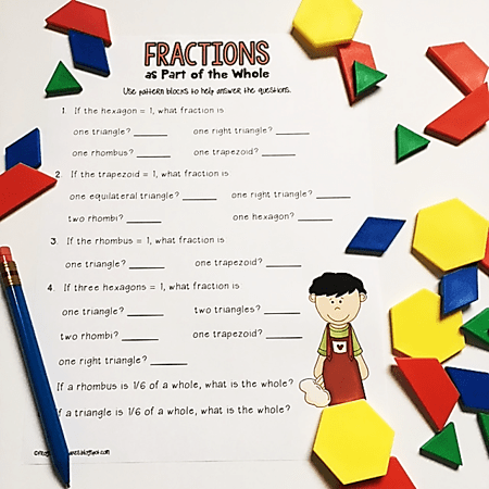 3 ways to effectively use pattern blocks to teach fractions tanya yero teaching. Black Bedroom Furniture Sets. Home Design Ideas
